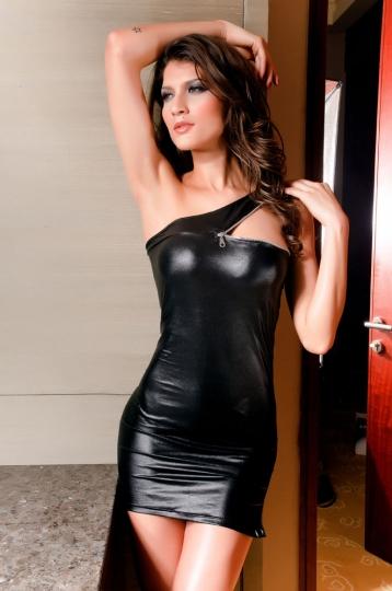 Zipper Shoulder Mini Dress Black Leather Lingerie Sexy