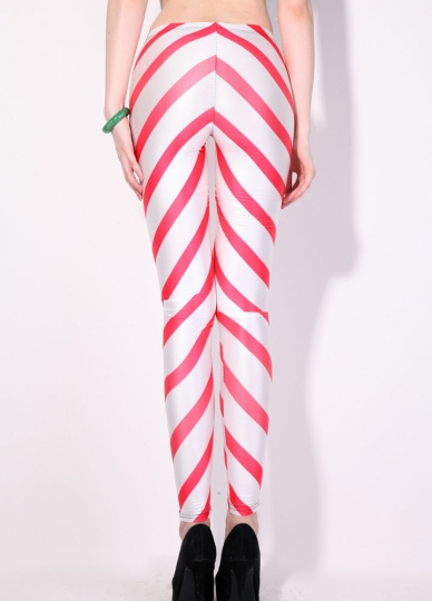 Pink And White Bedroom: Womens Pink And White Energy Striped Print Leggings