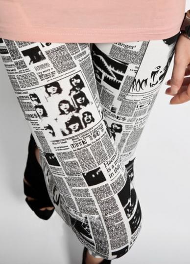 Modern Western Style Womens Newspaper Print Leggings