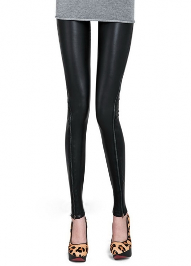 Womens Like Black Close Fitting Classical Leather Look