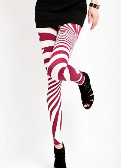 Womens Red And White Striped Printed Leggings Stripe Leggings