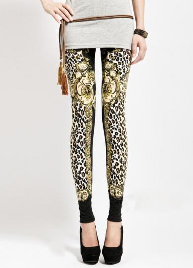 Gold Floral Leopard Animal Print Leggings