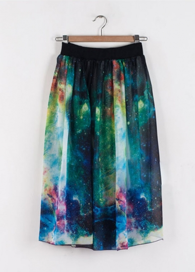 clouds green galaxy maxi skirt galaxy maxi skirts