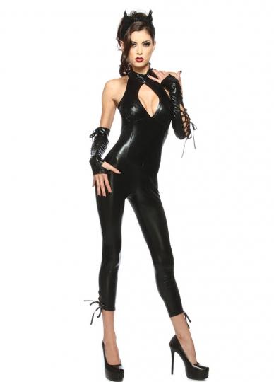 womens deluxe black panther catsuit halloween costume - Deluxe Halloween Costume