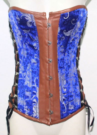 Blue Vintage Pattern Leather Over Bust Corset Fashion Corsets