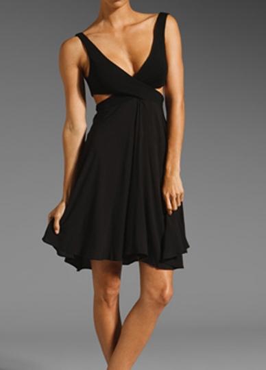 Black Revealing Crossover Low Cut Midi Dress Low Cut Dresses