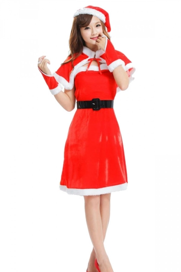Cute girls christmas miss santa claus costume with