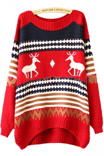 Knitting Pattern Reindeer Christmas Jumper : 25.12USD! Red Tacky Reindeer Stripe Pattern Womens Christmas Xmas Sweater For S...