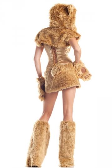 Womens Sexy Furry Bear Adult Halloween Costume Yellow