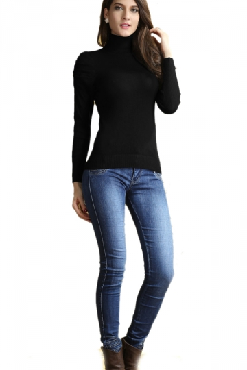 Woman Black Turtleneck Long Sleeve Bottoming Sweater