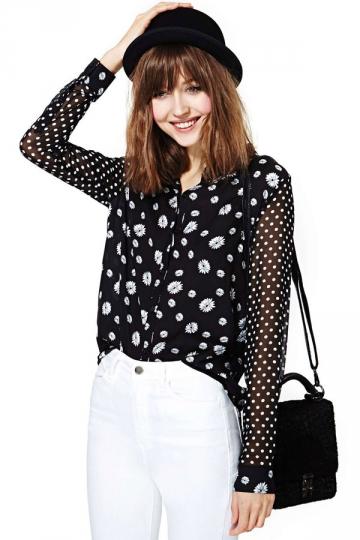 Black Trendy Daisy Print White Dot Womens Chiffon Blouse