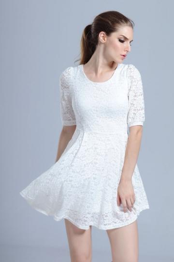 White Lace Floral Semi Formal Smock Dress Skater Dresses