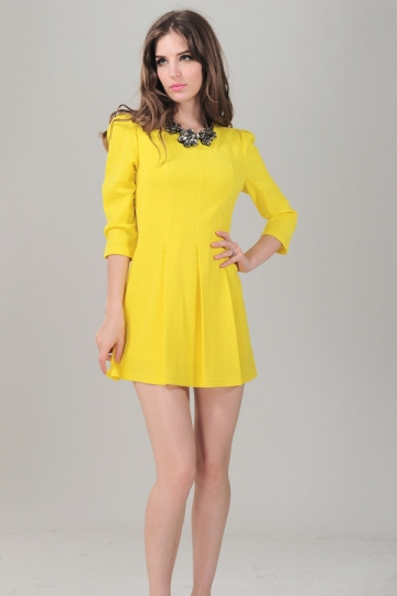 Yellow Long Sleeve Back Zipper Pleated Skater Dress