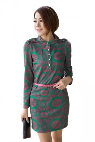 Fancy Stand Collar Floral Print Ladies Shirt Dress