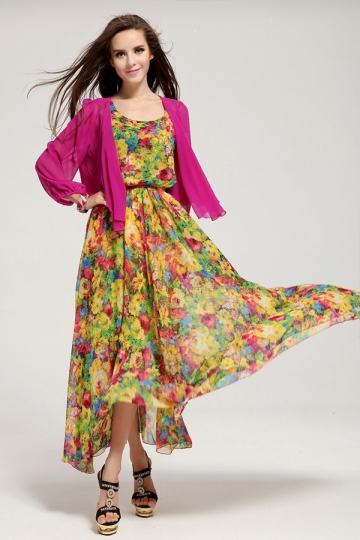 Green Chiffon Ladies Summer Floral Maxi Dress Long Sleeve