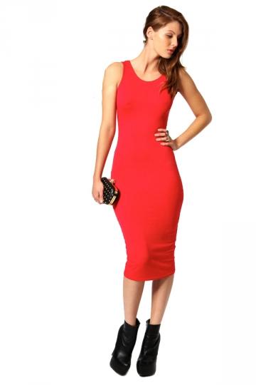 Elegant Summer Red Women Tank Midi Dress Bodycon Dresses