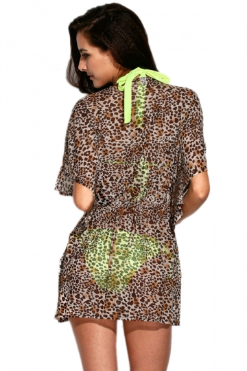Coffee Leopard Print Skirt Sarong Swimsuit Coverup Pink