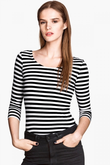 And slim fit striped boat neck womens t shirt for Boat neck t shirt women s