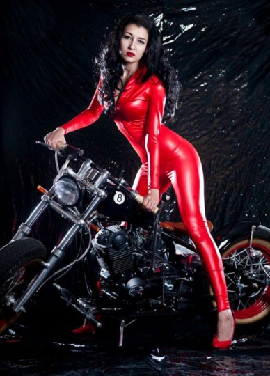 Sexy Red Liquid Zipper Racer Pu Leather Like Catsuit For Women