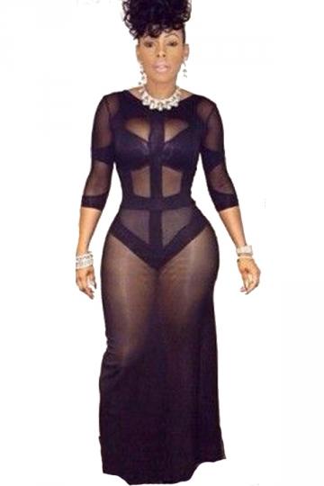 Black Sexy Womens Mesh Bandage Clubwear Dress - PINK QUEEN