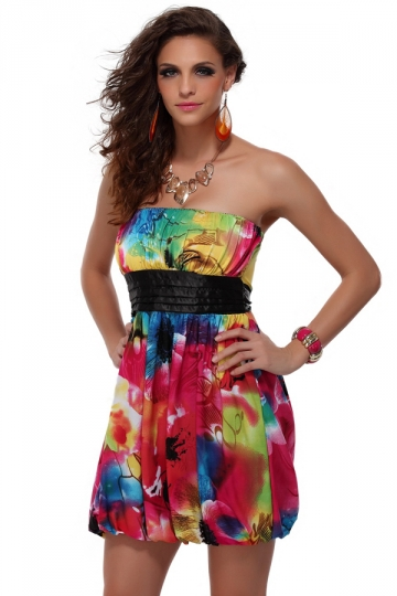 Red Pretty Summer Strapless Womens Print Tube Dress