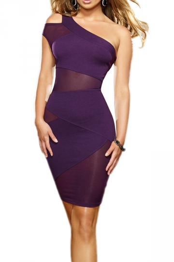 Sexy One Shoulder Ripped Bodycon Womens Clubwear Dress