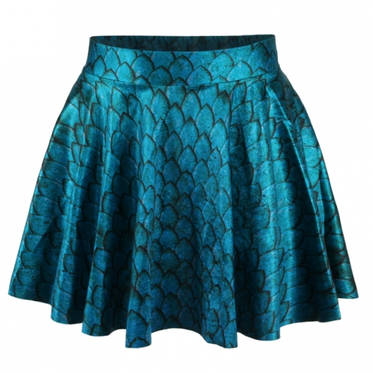 Blue Fashion Ladies Mermaid Print Pleated Skirt Pink Queen