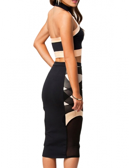 black halter sleeveless crop top tight bandage