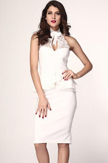Stylish Ladies Halter Bow Lace Peplum Dress - PINK QUEEN