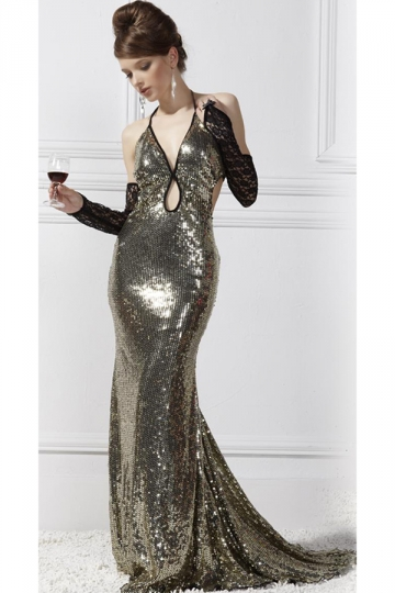 Gold Sexy Ladies Halter V Neck Cut Out Sequin Evening