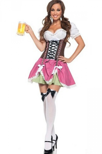 Pink Sexy Ladies German Beer Girl Maid Costume Pink Queen