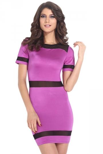 Purple Trendy Ladies Short Sleeves Fishnet Tight Clubwear