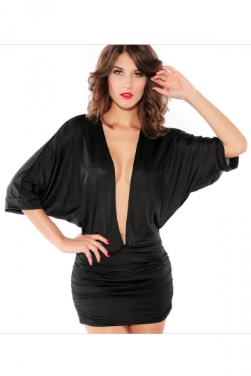 Black Deep V Neck Sexy Womens Loose Pleated Clubwear Dress