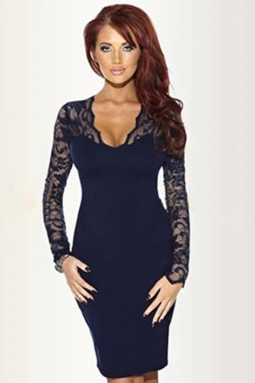 Navy Blue Sexy Ladies Sheer Lace Long Sleeve Bodycon Dress - PINK ...