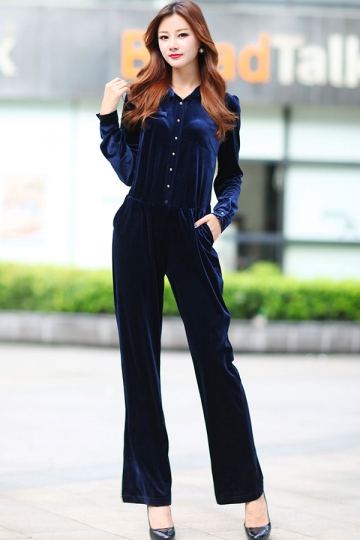 Navy Blue Womens Lapel Long Sleeves Chic Velvet Jumpsuit - PINK QUEEN