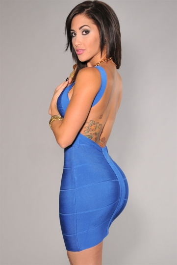 Sexy Girl Backless Bandage Dress In Blue Pink Queen