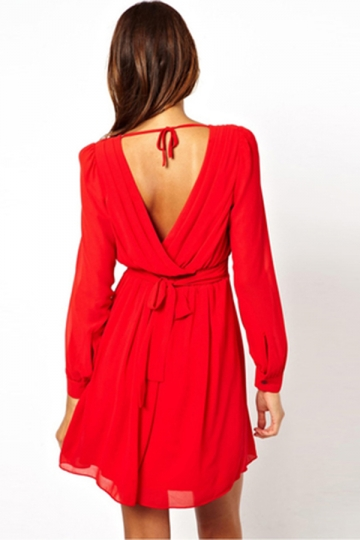 Red Sexy Womens Long Sleeves Deep V Neck Pleated Skater