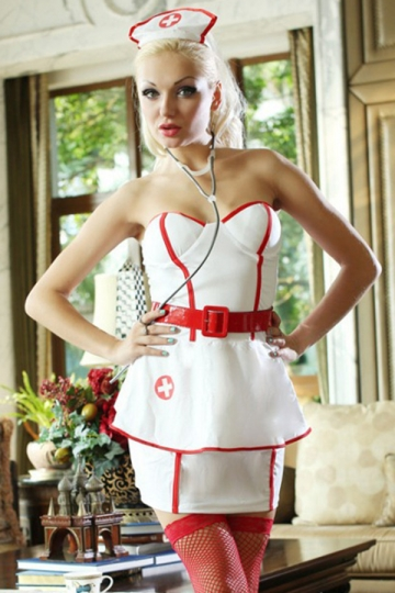 White Womens Classic Nurse Halloween Sexy Costume Pink Queen