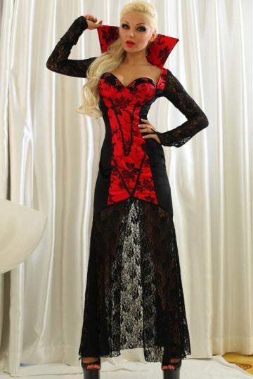 Black Sexy Womens Vampire Halloween Classic Costume Pink