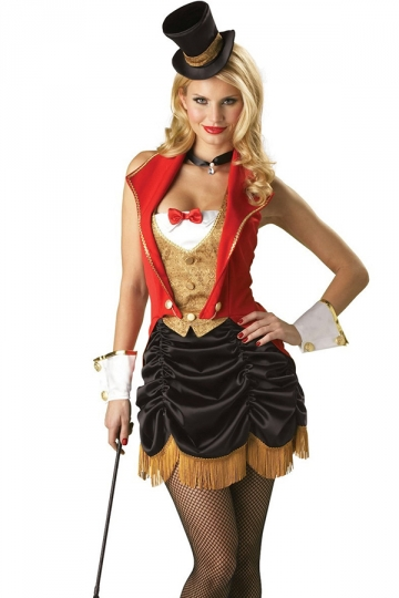 Red Old Fashioned Magician Halloween Circus Costume Pink