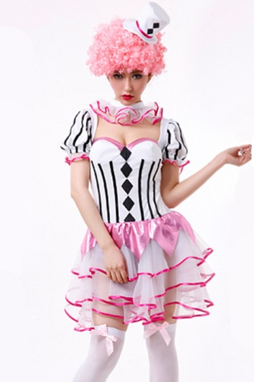 Pink Chic Womens Halloween Ruffle Circus Costume - PINK QUEEN