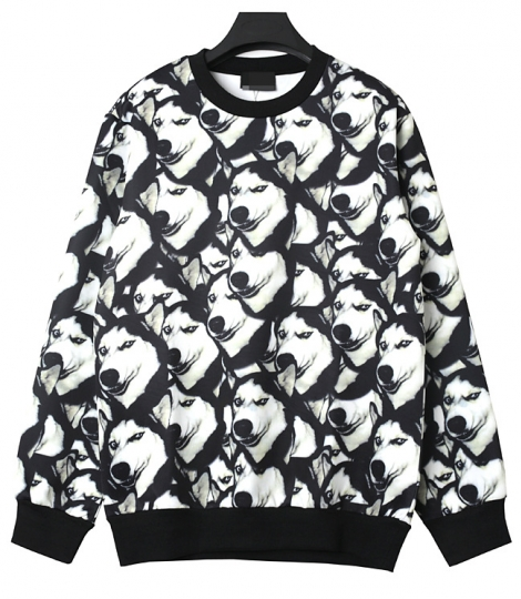 Black Cool Ladies Crew Neck Husky Pullover Printed Sweatshirt ...