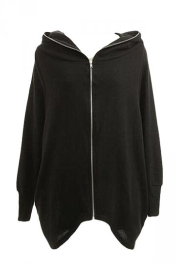 Womens plain black hoodie