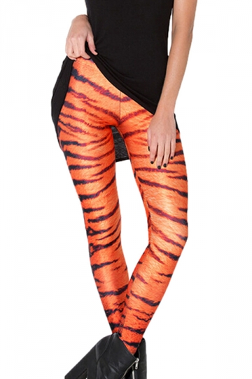 Orange Classic Womens Cool Tiger Stripes Printed Leggings - PINK QUEEN