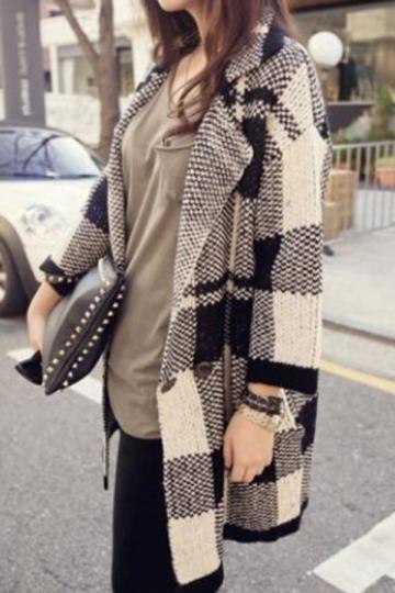 Black And White Plaid Pattern Turndown Collar Cardigan Wool Coat ...