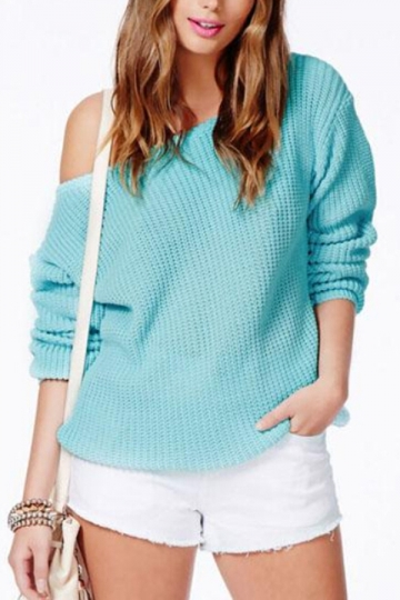 Turquoise Sexy Womens Off Shoulder Classic Plain Pullover Sweater - PINK QUEEN