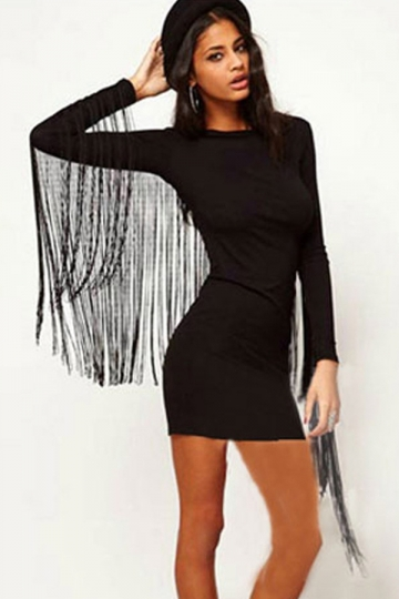 Black Sexy Ladies Tight Fringe Long Sleeve Plain Bodycon