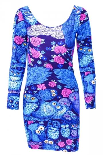 Blue Cool Ladies Cartoon Owl Printed Long Sleeve Bodycon