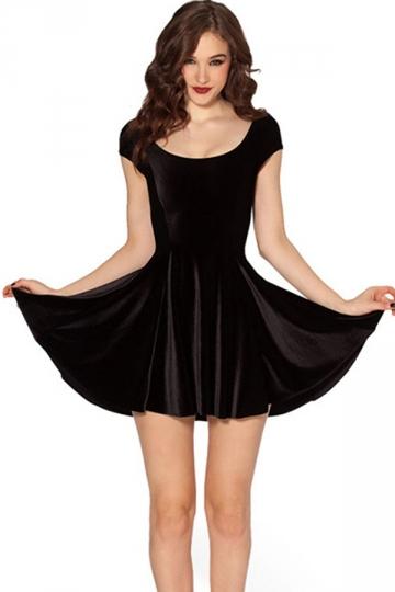 Black Sexy Womens Short Sleeve Velvet Pleated Skater Dress - PINK ...