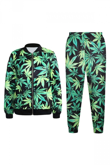 Green Trendy Womens Marijuana Leaf 3d Printed Jacket Suit